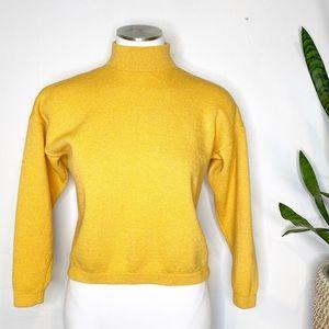 St. John   Vintage Yellow Mock Neck Crop Sweater
